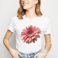 Pink Sun Flower Clothes Vogue Women T Shirts White Camiseta Mujer Polyester Harajuku Tumblr Tops Tee Femme