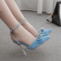 Verano mujeres sandalias malla seda diamante arco puntiagudo cristal alto tacones azul sexy fino boda zapatos de mujer