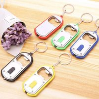 100pcs 3 in 1 Beer Can Bottle Opener LED Light Lamp Key Chain Key Ring Keychain Mixed BBD9121