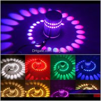 Deco El Supplies Home & Garden Drop Delivery 2021 Rgb Led Lamp 3W Dimmable Wall Remote Control Surface Mount Effect Lights For Ktv Game Room