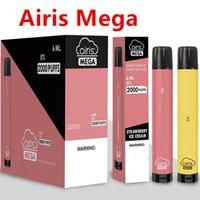 100 % 오리지널 오리지널 메가 일회용 담배 포드 장치 키트 2000 퍼프 1050mAh 6ml Prefilled Portable Vape Stick Bar Plus Flow Bang XXL Max