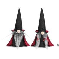 Cadılar bayramı Cüceler Peluş Dekor El Yapımı İsveç Gnome Nisse Gnomes Süsler Siyah Cadı Pelerin Şapka Cadılar Bayramı Masası Süslemeleri HWE8721