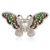 Elegant Charm Butterfly Animal Pearl Brooch Women Rhinestone Jewelry Colorful Insect Pins Vintage Fashion Gifts