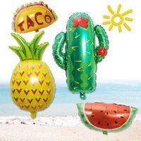 Party Decoration Mexican Decorations Birthday Supplies Decor Fiesta Mexicana Helium Foil Green Cactus Taco Llama Balloons Pom Poms