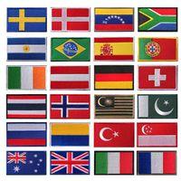 旗ファブリックフックとループファスナー刺繍入り戦術的なパッチメキシコイタリアフランスカナダテキサスブラジルの旗布ステッカーショルダーエンブレムアップアプリ