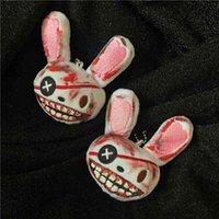Bloody Solo coniglio coniglio Peluche Portachiavi Handmade Animal Keyring Bunny Charm Keyholder per Auto Bag Halloween Gioielli Accessory Regalo