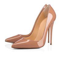 Con caja de freeshipping tan kate estilos 12 cm zapatos de tacones altos del fondo rojo de color desnudo de piel de cuero genuino de los pies de las bombas de las mujeres zapatos de boda de goma