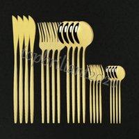 DHL ужин 20шт столовые приборы из нержавеющей стали посуда из нержавеющей стали посуда торт вилкового ножа набор посуды Home Flatware современные золотые зеркало столовые приборы