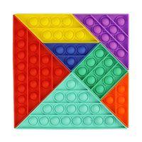 Push Pop Bubble Sensory Toy Tangram DIY Siete pieza Puzzle Fidget Juguetes Niños Educación Earra Puzzle Board juego DecomPresion Gadget H32Y1LO