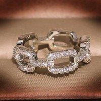 Moda Düğün Takı 100% 925 Ayar Gümüş Yüzükler Açacağı Beyaz Safir CZ Elmas Zincir Kadınlar Lüks Band Parmak Yüzük RA0996