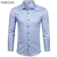 Men's Bamboo Fiber Dress Shirts Casual Slim Fit Long Sleeve Male Social Shirts Comfortable Non Iron Solid Chemise Homme Blue 210730