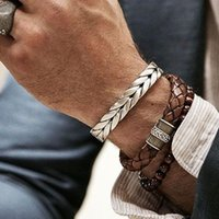 Men Titanium Steel Bangles Male Vintage Gentlem Leather Bracelets Twisted Braiding Stainless Gentleman Wires Bangle