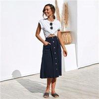 Elbiseler Katı Renk Orta Buzağı Rahat Giyim Kadın Yaz Tasarımcı Voket Etekler Düğme Moda Kadın Gevşek