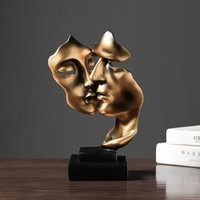 Golden Retro Face Kiss Mask Decoration Resin Statue Sculpture Desktop Furnishings Home Decor