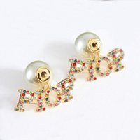 Fashion Earring Back pearl stud earrings for lady Women Party Wedding Lovers gift engagement Jewelry for Bride With BOX LZ0401