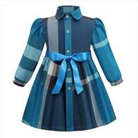 2021 Spring Autumn Baby Girls Plaid Dresses Cotton Kids Long Sleeve Princess Dress Fashion Girl Turn-Down Collar Skirts Children Skirt