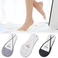 1Pair mulheres senhora meias sexy algodão lace metade dos pés antiderrapante forro invisível sem sling sling verão salto alto Barco meias1