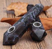 자연 화강암 크리스탈 파이프 간단한 패션 담배 홀더 다이아몬드 흡연 원래 석재 육각 프리즘 흡연