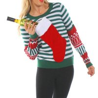 LOSSKY Christmas Striped Socks Patchwork T Shirt Casual O Neck Long Sleeve Autumn Winter Funny T-shirt Fall Tops Tees For Women 210507