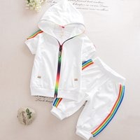 Kid Boy Girl Clothes Sportswear Summer Fashion Short Sleeve Colorful Zipper Hooded Clothing For Girls Children Outfit Set 210418