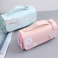 Sakura Lápiz Bolso PU Caja de pluma de cuero Kawaii Papeleria Bolsa para niña Secundaria Sweet Holder Caja Flores Fundas de regalo