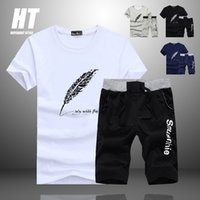 Mode Shorts Set Hommes Tracksuit Hommes Summer Print costume 2 Pièces Fitness Sportswears + Beach Shorts Mens Casual T-shirts Homme 4XL 210330