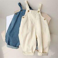 Erkek Bebek Katı Denim Tulum Çocuk Jean Bib Pantolon Bebek Tulum Çocuk Giyim Çocuk Tulum Sonbahar Kız Kıyafetler 958 Y2