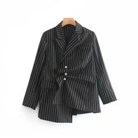 Women's Jackets Vintage Women Irregular Stripe Pearl Suit Jacket Fashion Elegant Ladies Single Breasted Asymmetrical Coat Feminine Outerwear