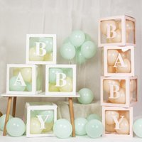 Party Decoration A-Z Letter Name Transparent Balloon Box BABY ONE Blocks Boy Girl Gift Wedding Shower Birthday
