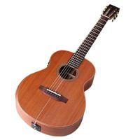 36 inç Elektrikli Akustik Gitar 6 Dize Halk Gitar Mat Finish Tam Sapele Ahşap Kahverengi Batı Gitar EQ Ile