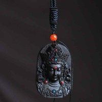 Bodhisattva Qi Nan Hu Motif Aloès Huile High Huile Direct Green Tara Guanyin Pendentif Collier Inlaid de Turquoise J strawaw