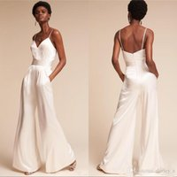 Jumpsuit Pants Evening Dresses Summer with Pockets Spaghetti Neck Zipper Back Dramatic Beach Ceremony Mother of Bride Dress