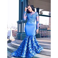 Royal Blue Long Mermaid Prom Dresses 2019 New Long Sleeve Beading Lace Applique Floor Length Formal Evening Dress Party Gowns