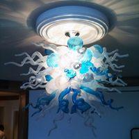 Lampade a soffitto di lusso a LED in vetro pendente a sfera in vetro luce soffiato a mano lampadario illuminazione blu bianco foyer loft cupola lampada moderna art decorazione lustro 28 di 32 pollici