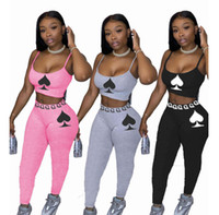2021 Women Two Piece Outfits Solid Color Peach Heart Printed Sleeveless Suspender Tops Long Trousers Ladies New Casual Tracksuits 2021