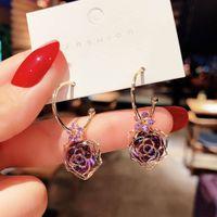 S925 sier needle Korea dongdamen temperament purple Earrings 2021 new rose net red versatile earrings