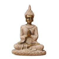 Arenaria seduta buddha scultura fatta a mano figurina meditazione miniatures ornamento statua casa 210414