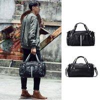 Leather Korean Fashion Large-capacity Sports Bags Men Handbag Leisure Messenger Travel Bag Cylinder Shape Duffel
