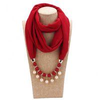 Sombreros, bufandas Guantes Conjuntos Ele-Choices Women Fashion Jewelry Faux Pearl Colgante Collar de gasa Color sólido Bufanda para uso diario