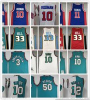 Retro Baskeball 10 Mike 3 Shareef Bibby Abdur Rahim Jersey cosido 50 Reeves 33 Grant Dennis Hill Rodman Jerseys Green Green MN Vintage