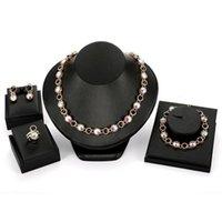 Fashion 4-Piece Set Party Jewery Luxury Elegant Colorful Rhinestone 18K placcato oro gioielli da sposa