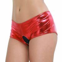 Women's Panties Women Erotic Pole Dance Shorts Sexy Latex Lingerie Bottoms Wetlook Faux Leather Crotchless Bikini Brief Underwear Underpants