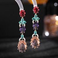 Dangle & Chandelier Sparkling Yellow Pink Cubic Zirconia Long Earings For Women Wedding Party Jewelry, Fashion Crystal Drop Earrings Accesso