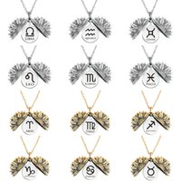 Good Design 12 Zodias Sun flower Necklace Stainless Steel Circle Card Special Shape Gold Sliver Color Fashion Twelve Constellation Sweater Chain Jewelry Wholesale