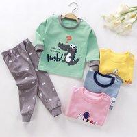 Pajamas euerdodo 2 шт. Осень зима детские комплекты хлопчатобумажные с длинным рукавом для девочек мальчики мультфильм пижамы пижамы дети