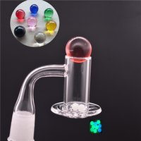 Prevent Oil Splashing Quartz Banger Nail Beveled Edge+ Carb Cap+Terp Pearls With 10mm 14mm 18mm Male Female For Dab Rig Water Bong