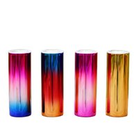 Electroplated Colors 20oz Straight Skinny Tumblers with Straw Lid Stainless Steel Double Wall Insulated Rainbow Iridescent Coffee Mug Colorful Water Bottles DIY