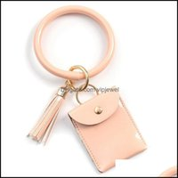 Keychains Aessorieskeychains Fashion Mtif Keychain Key Ring And Card Wallet Pu Leather Bangle With Matching Wristlet Bag For Women Drop Deli