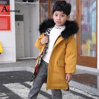 Down Coat Unisex Girls Boys Fashion Long Jacket Children Cotton Jackets Kids Clothing 2021 Fur Hooded Top Outerwear Winter Warm Coats