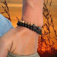 Charm Bracelets 2 PCS Set Men's Beaded Bracelet 6MM Natural Stone Beads Men Black Onyx Lava Fitness Dumbbell Energy Healing For Women Jewelr
